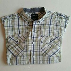 Calvin Klein Jeans men's plaid button-down shirt